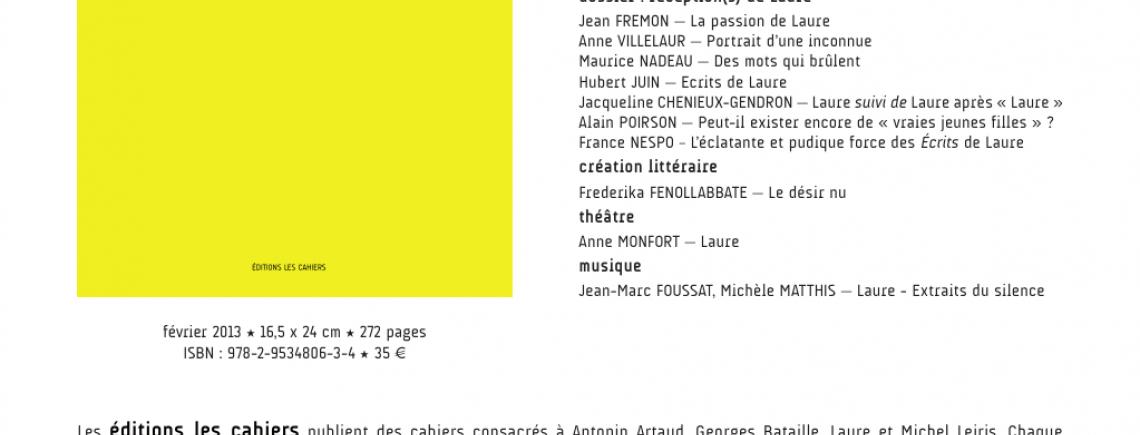 Cahier Laure n°1